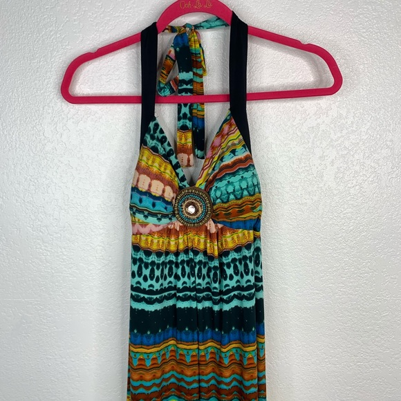 Mlle Gabrielle Teal & Brown Maxi Dress Size M
